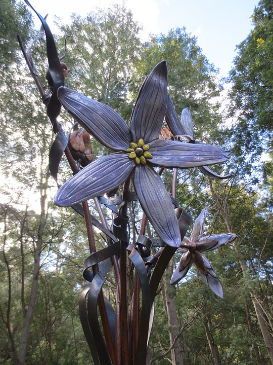 Sculpture, Flower, Ceramic, Metal, Purple, Lenah Valley