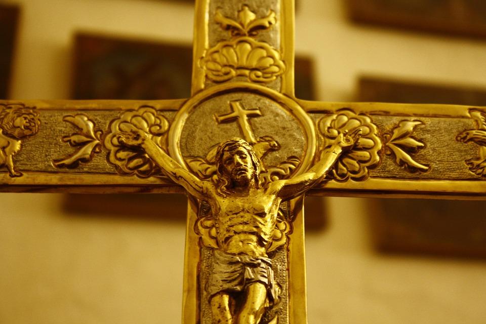 Cruz, Gold, Golden, Christ, Crucifixion, Metal
