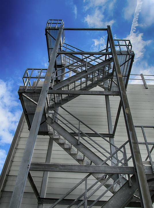 Building, Sky, Stairs, Exterior, Industrial, Metal