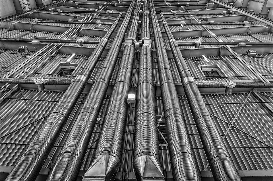 Pipes, Lines, Ventilation, Heating, Metal, Energy