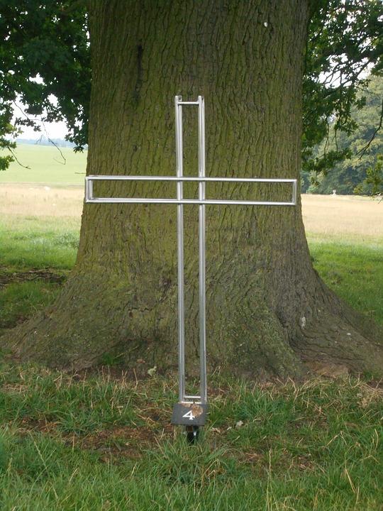 Cross, Tree, Metal, Wood, Christian, Sculpture, Oak