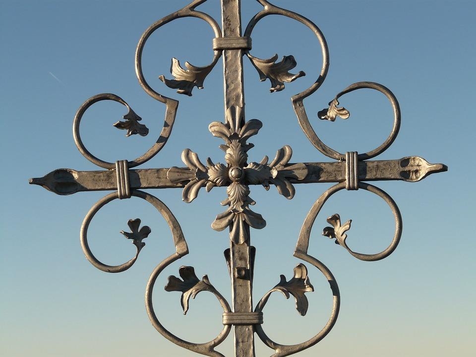 Cross, Iron, Grid, Ornament, Metal, Sky, Faith, God