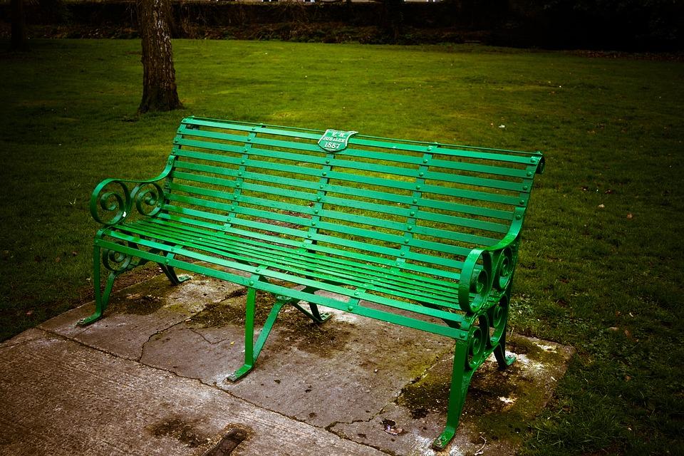 Bench, Metal, Green, Outdoor, Park, Nature, Seat