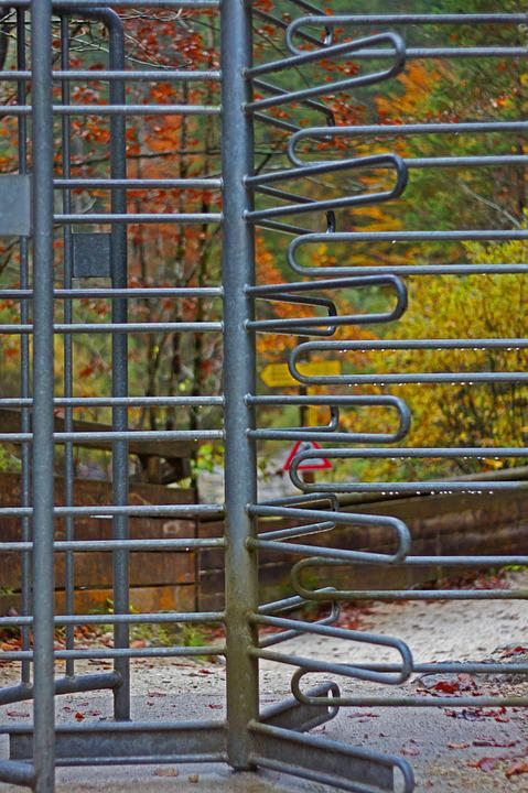 Revolving Door, Metal, Nature, Iron, Autumn, Output