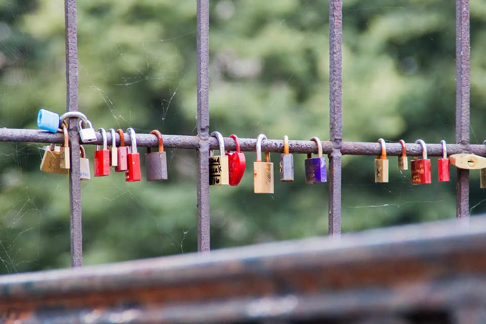 Padlocks, Padlock Of Lovers, Bridge, Metal