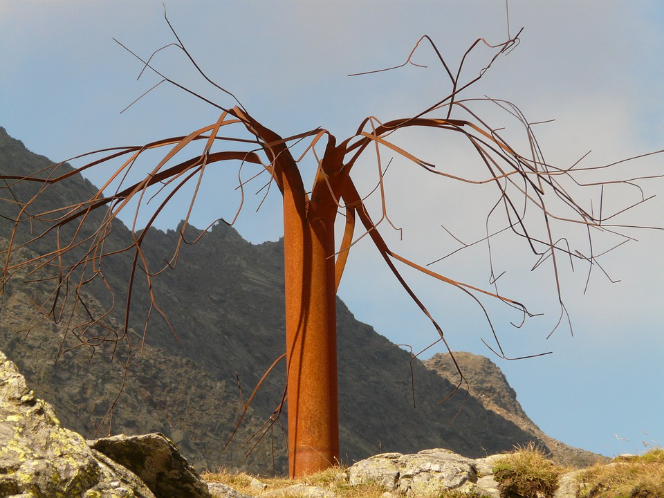 Tree, Abstract, Metal, Metal Tree, Timmelsjoch, Art