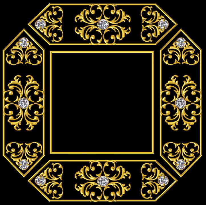 Gold, Square, Frame, Golden, Yellow, Metal, Metallic