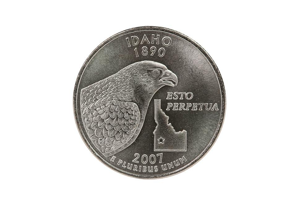 Isolated, Currency, Metallic, Idaho, State, Quarter