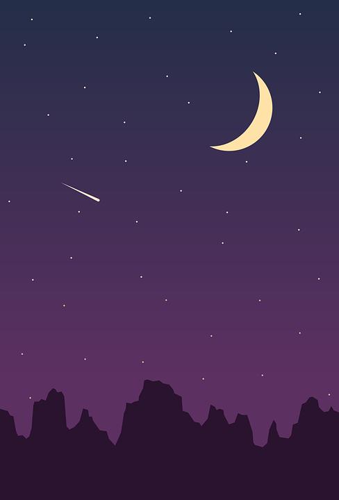 Night Sky, Stars, Moon, Crescent Moon, Meteor