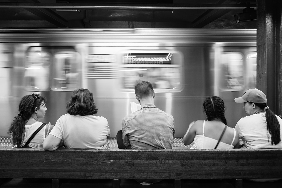 Subway, Metro, Man, Woman, Lonely, Alone, Reading, Book
