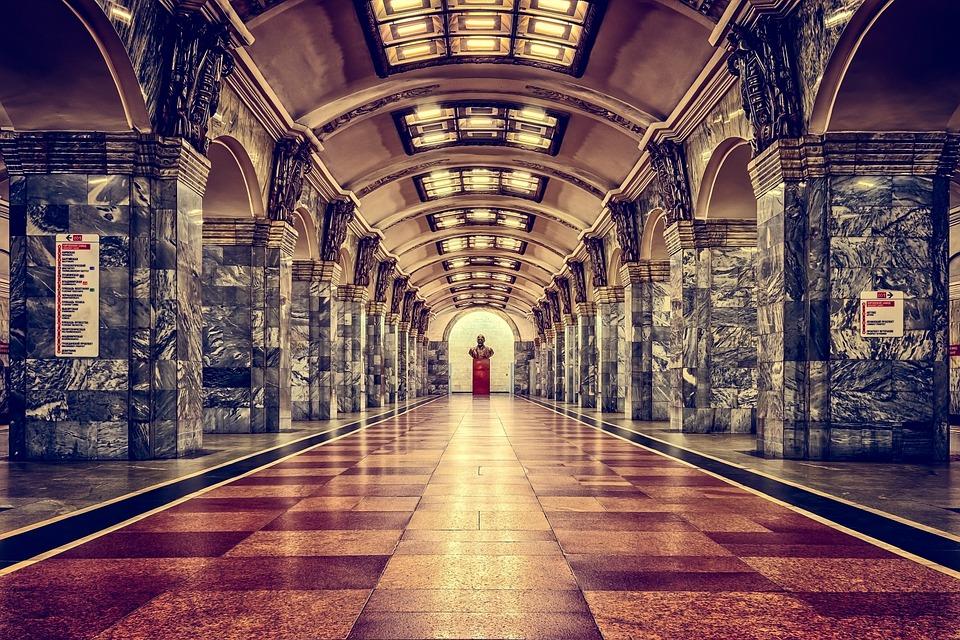 Railway Station, Metro, St Petersburg, Russia