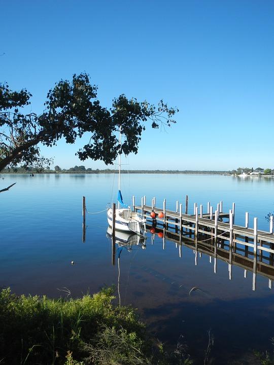 Boat, Reflection, Jetty, Pier, Metung, Water, Lake