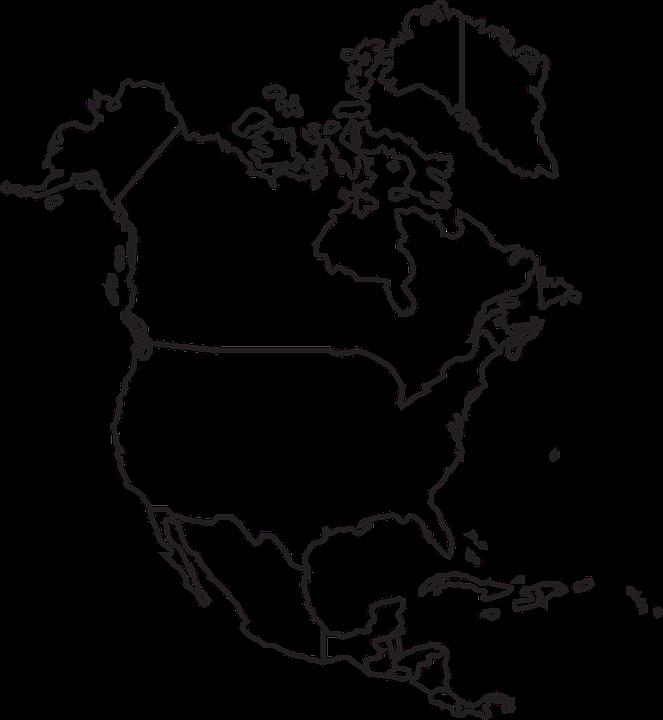 Map, North, America, Canada, Usa, Mexico, United