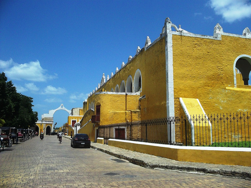 Yucatan, Mexico, Sky, Clouds, Town, Buildings