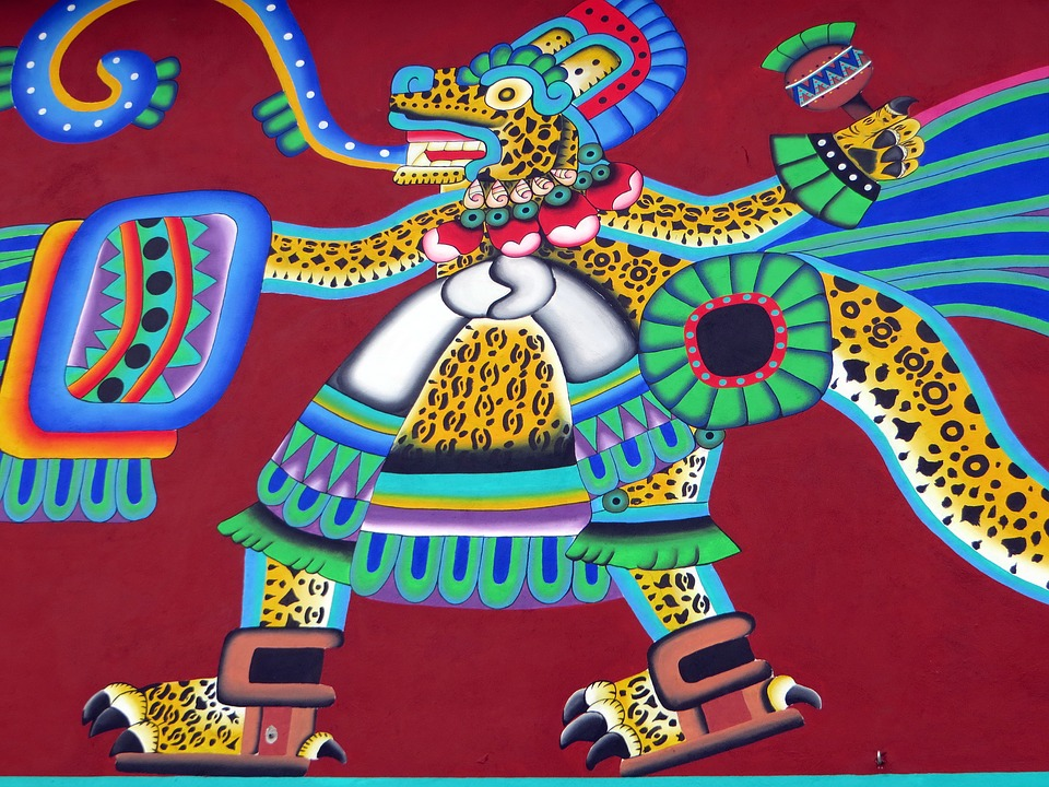 Mexico, Puebla, Mural, Ethnic, Aztec, Decoration, Art