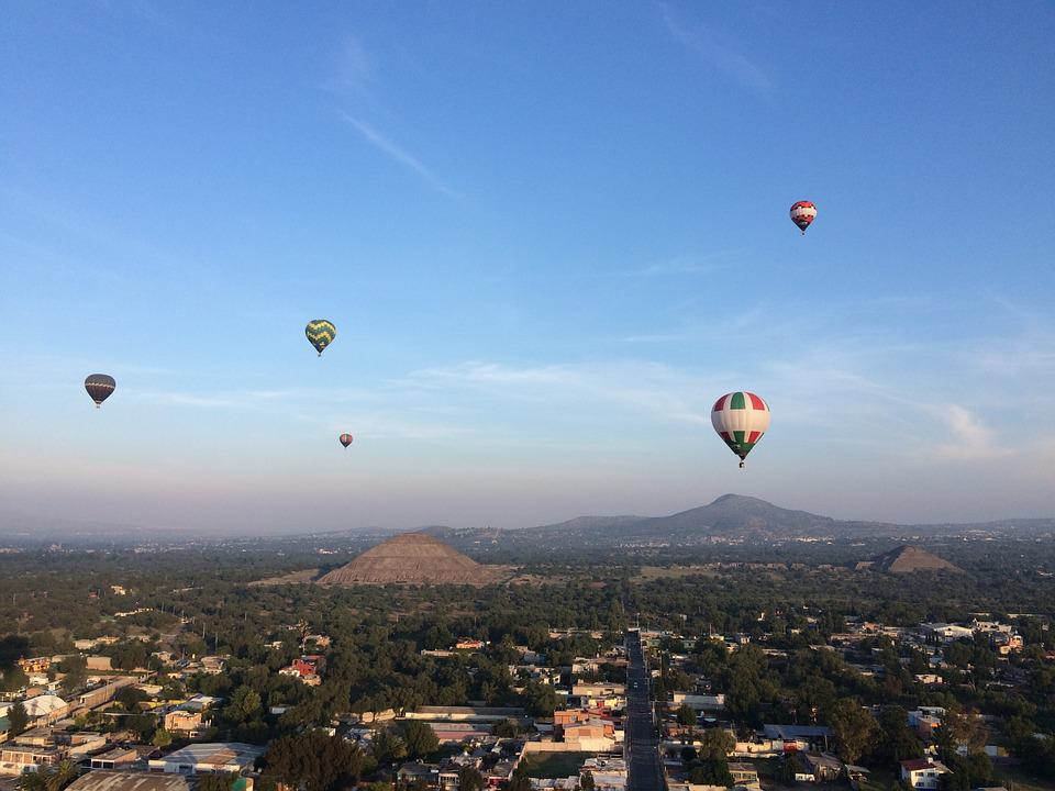 Mexico, Balloons, Pyramids, Mexican, Air, Flying