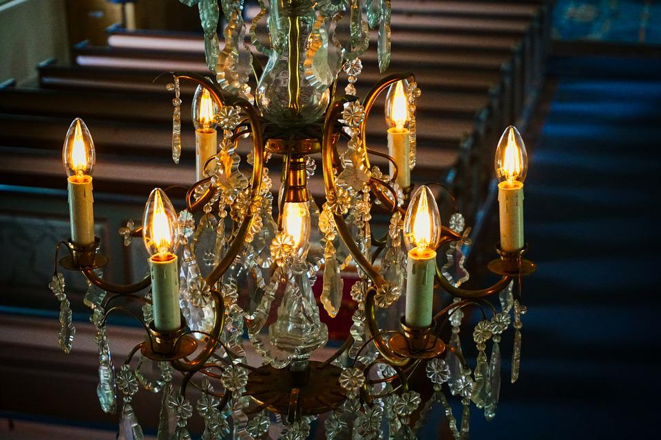 Crown Chandelier, Church, Old, Middle Ages, Candles