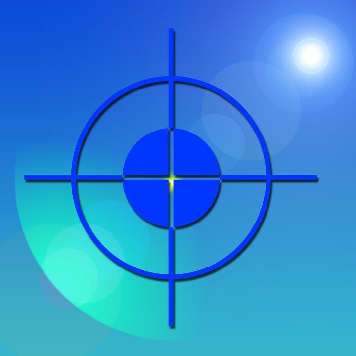 Visor, Crosshair, Focal Point, Center, Middle, Blue