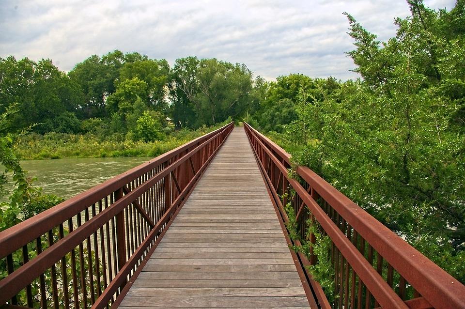 Middle Loup River Footbridge, River, Bridge, Water