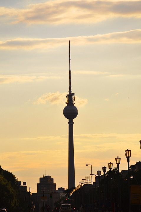 Tv Tower, Berlin, Middle, Capital, Sunset, Architecture