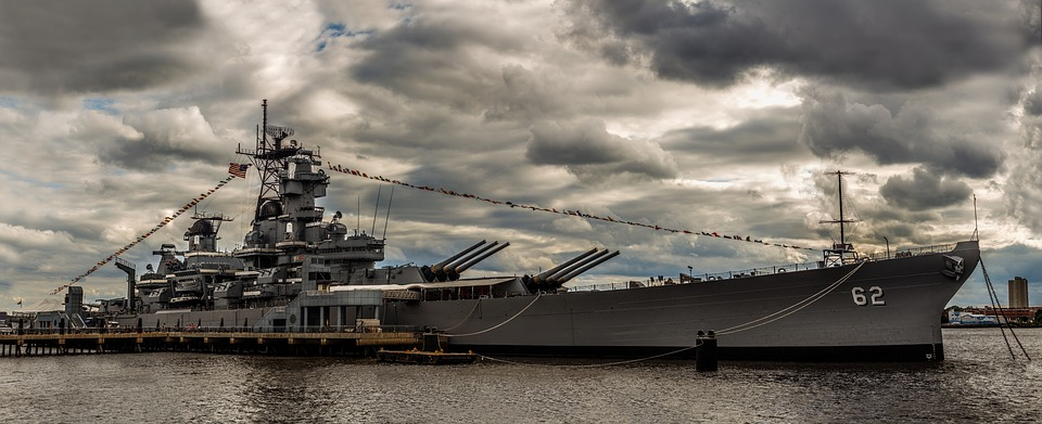Uss New Jersey, Battleship, Warship, Water, Military