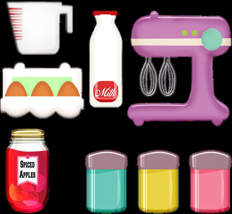Retro Pink Mixer, Cooking, Eggs, Milk, Baking