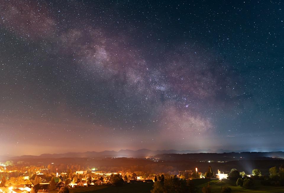 Milky Way, Star, Night, Sky, Landscape, City, Scenic