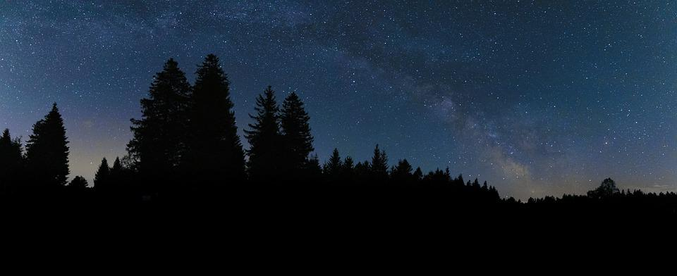 Milkyway, Black Forest, Stars, Night, Universe