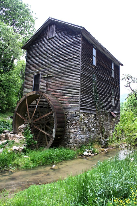 Mill, Gatlinburg, Tennessee, Building, Water Wheel