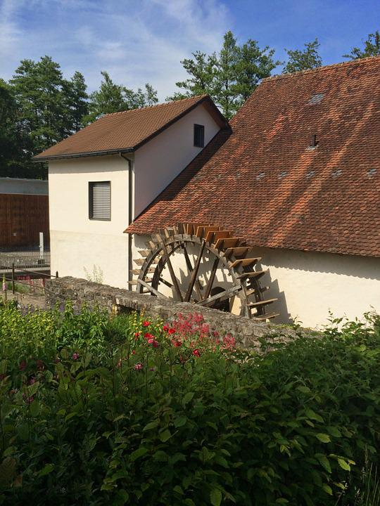 Waterwheel, Garden, Mill, Roof