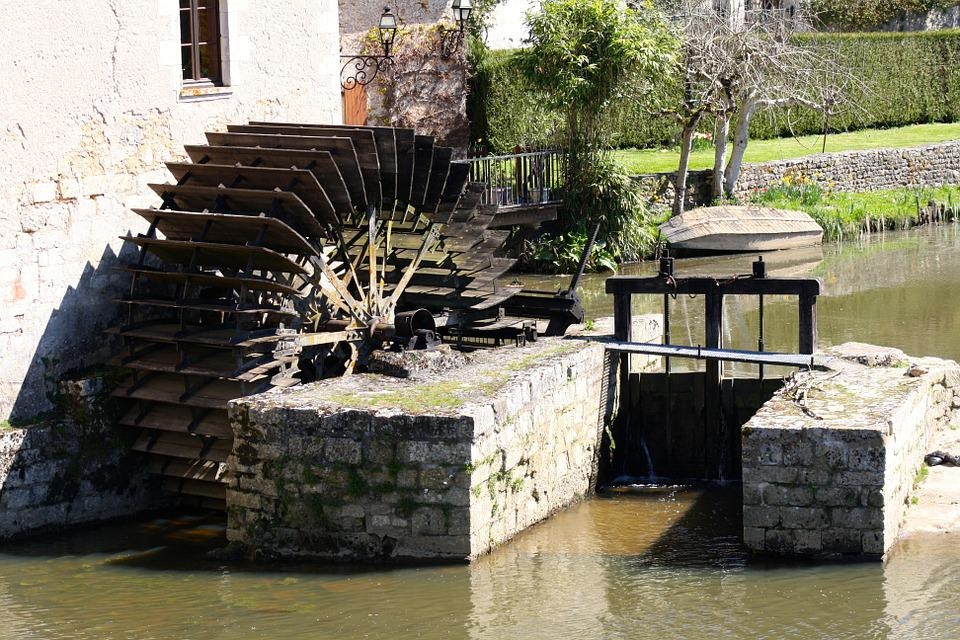 Water Wheel, Mill Wheel, Waterwheel And Sluice