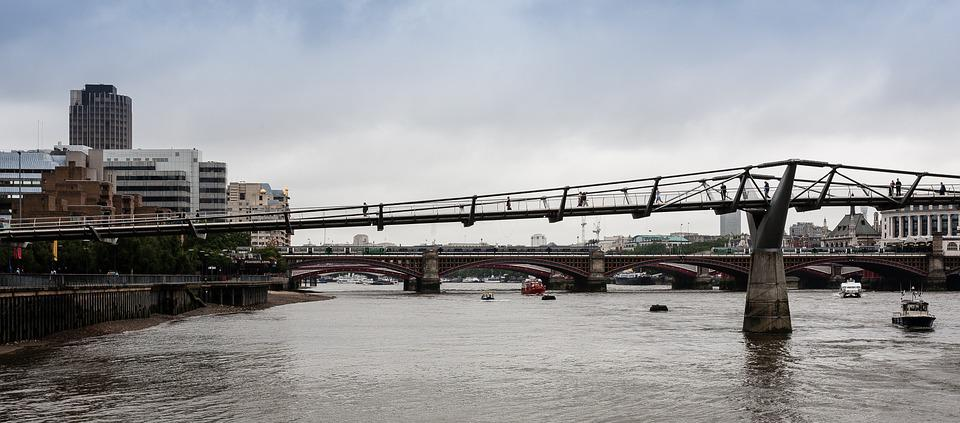 Bridge, River, Thames, Millennium, Sky, City, Water