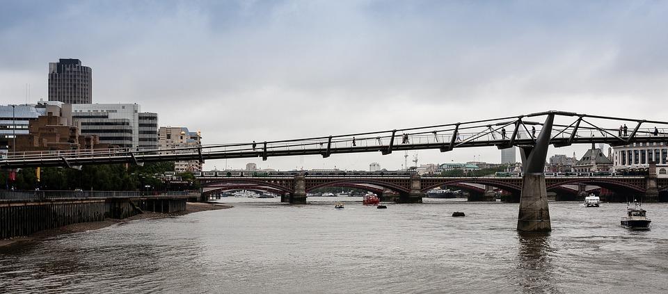 Bridge, River, Thames, Millennium, Sky, City, Water