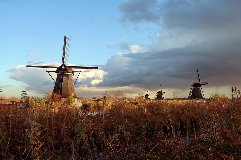 Mill, Kinderdijk, Netherlands, Holland, Wicks, Mills