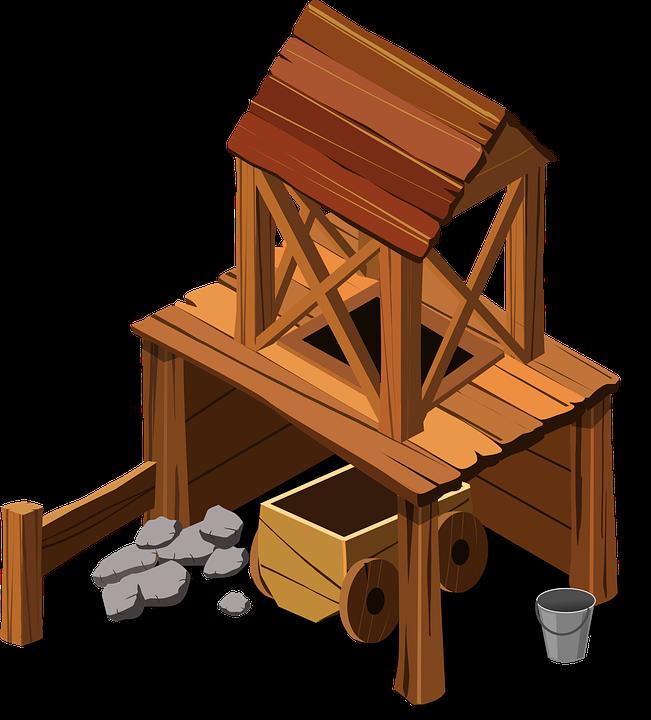 Mining, Mine, Building, Wood, Bucket