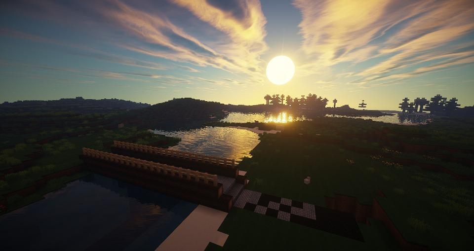 Minecraft, Bridge, River, Wood, Medieval, Log, Sunset