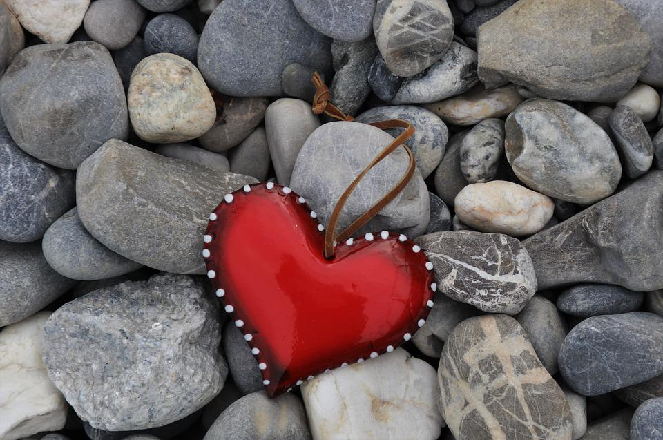 Red Heart, Stone, Mineral, Rocks, Romance, Gray, Harsh