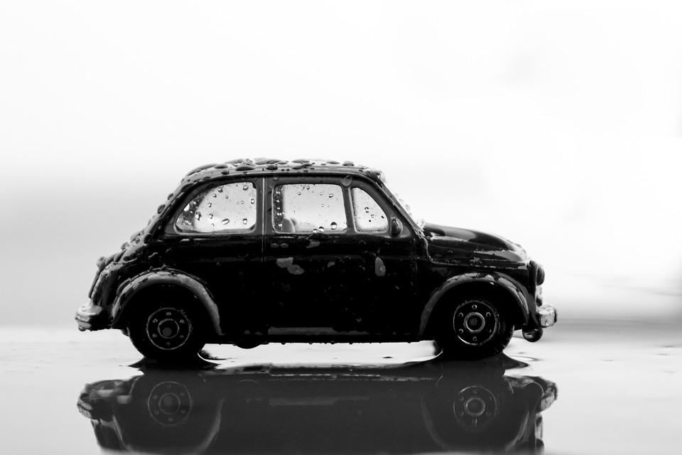 Miniature, Car, Closeup, Water, Drops