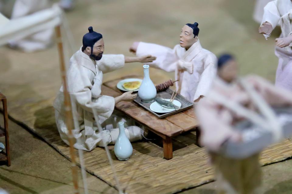 Koreans, Traditional, Miniature, Drinking, Food