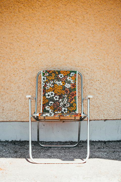 Chair, Minimalist, Yellow, Floral Design, Floral, Old