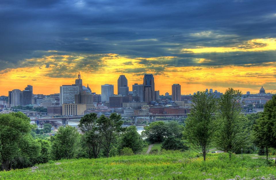 St Paul, Minneapolis, Minnesota, Dusk, Sunset, Sky