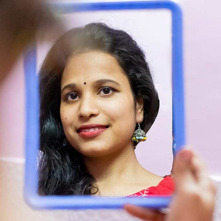 Girl, Mirror, Reflection, Beauty, Makeup, Fashion