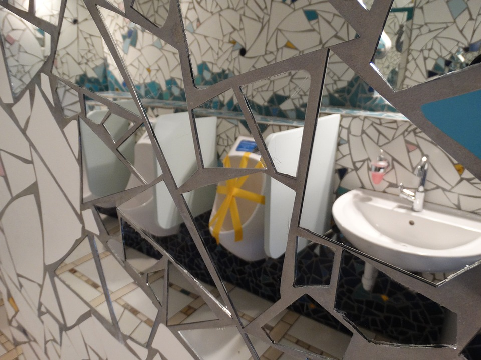 Mirror, Toilet, Reflections, Ceramic, Art, Mosaic