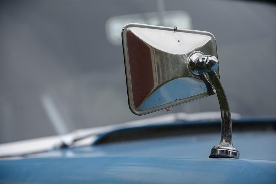 Auto, Blue, Rust, Oldtimer, Automotive, Retro, Mirror