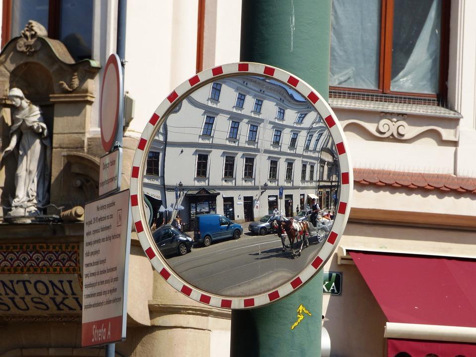 Mirror, Reflection, Street, Urban