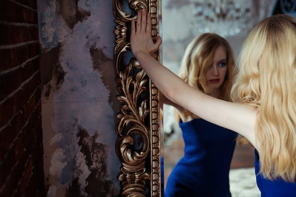People, Woman, Grown Up, Portrait, Blonde, Mirror
