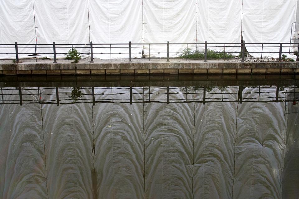 Water, Mirroring, Spree, Site, Scaffold, Curtain, Bank