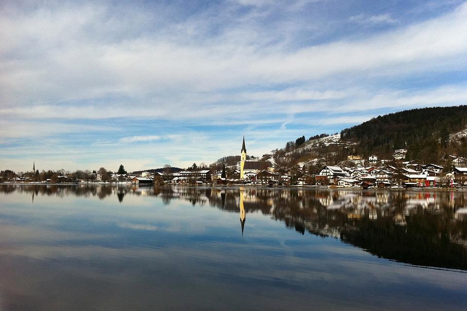 Schliersee, Bavaria, Church, Mirroring, Lake, Sky