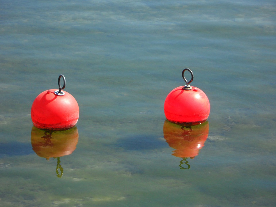 Buoys, Pier, Port, Two Pair, Mirroring, Water, Lake
