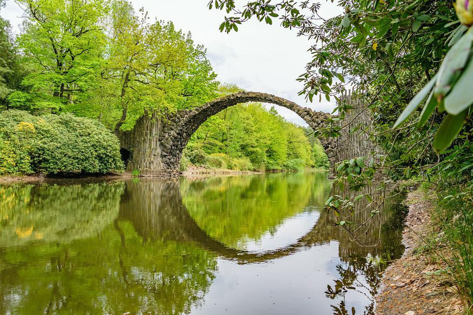 Mirroring, Bridge, River, Arch, Trees, Bank, River Bank